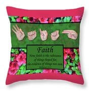 Now Faith Throw Pillow by Master's Hand Collection