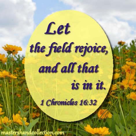 let the field rejoice bible verse, 1 Chronicles 16:32
