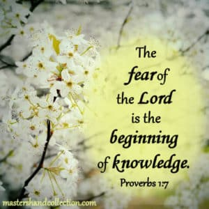 the fear of the Lord is the beginning of wisdom, Proverbs 1:7