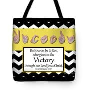 Master's Hand Collection Tote Bag Victory B&W Graphic