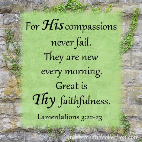 Great is Thy faithfulness. Lamentations 3:22-23