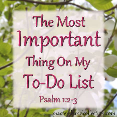 The Most Important Thing on My To-Do List Psalm 1:2-3