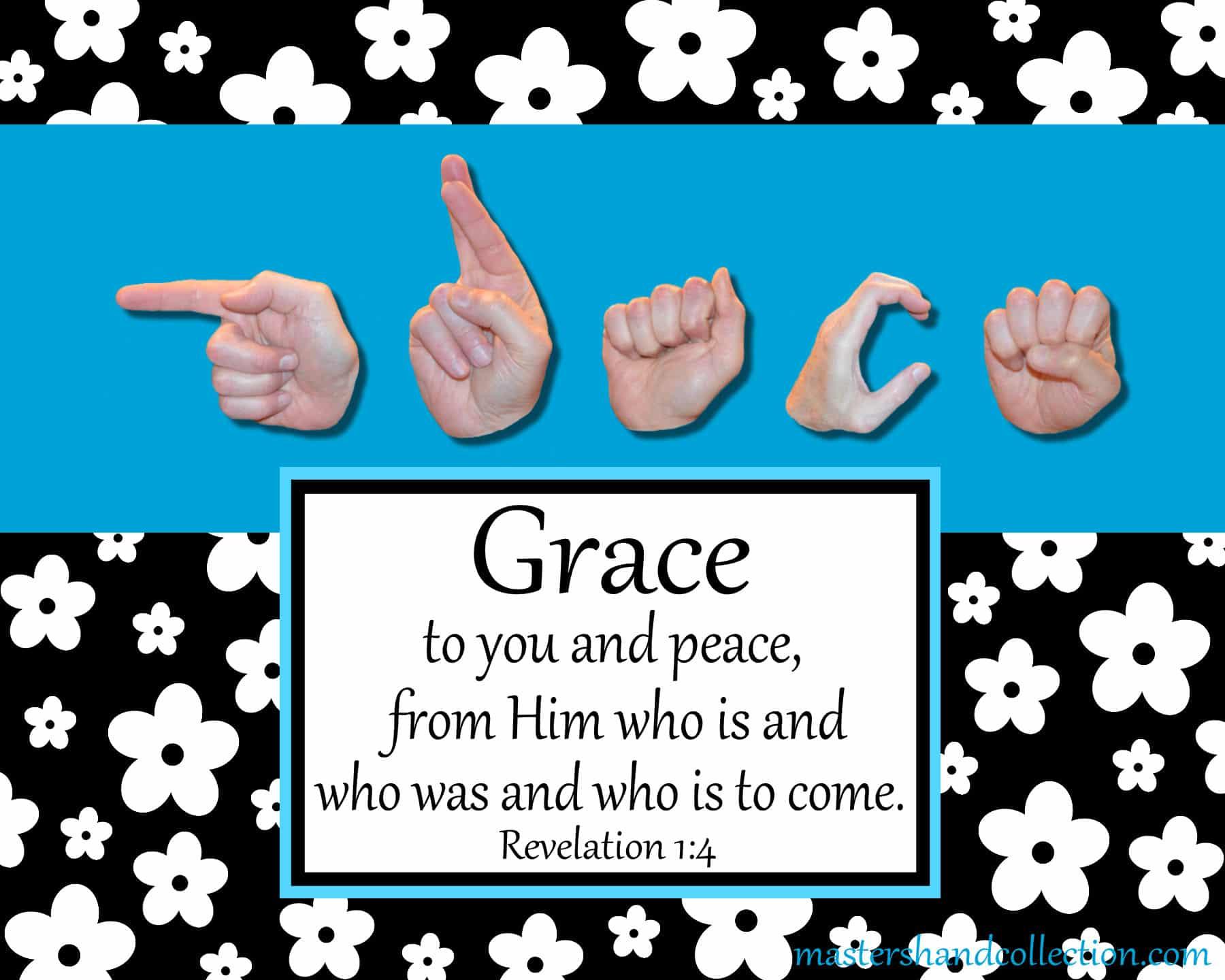 Grace Black and White Bible Verse Art