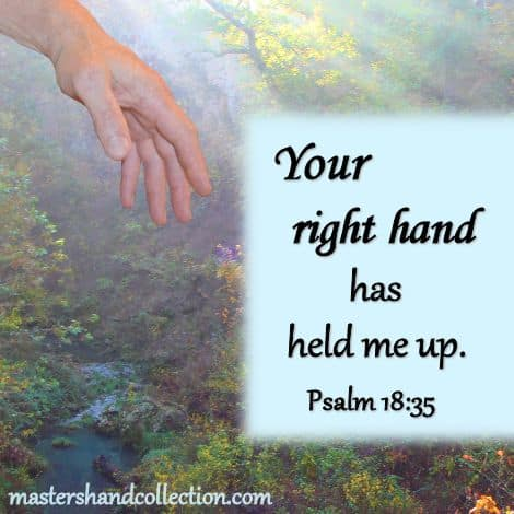 Bible verses about God's hand; Psalm 18:35