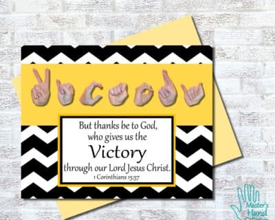 Victory B&W Printable Card